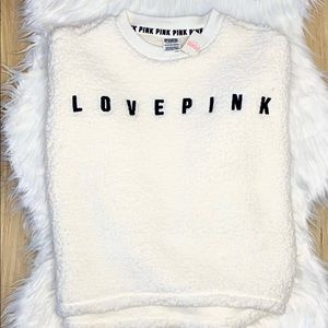 Pink Victoria Secret Sherpa Cream